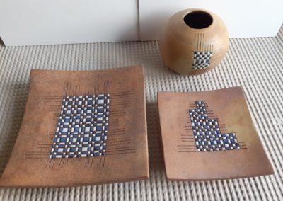 JL NIGON & M LESBROUSSART Coupes et vase